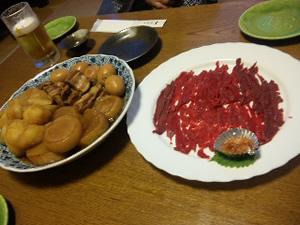 馬刺し&豚の角煮